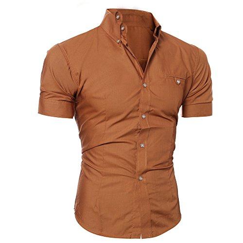 Yowablo Bluse Herren Kurzarm Hemden Prom Hochzeit Button Down O Neck Pullover T-Shirt Top (M,Braun)