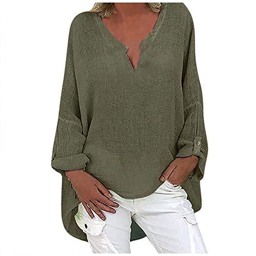 Fcostume - Blusa de lino para mujer de gran tamaño, elegante, con estampado de flores, cuello en V verde militar 40