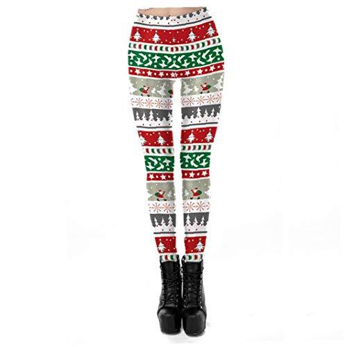 Tema Natale Leggings Digital Fashion modello della stampa ghette di Natale Forniture elastico Leggings morbido natale costume Collant Natale Style 1 XL