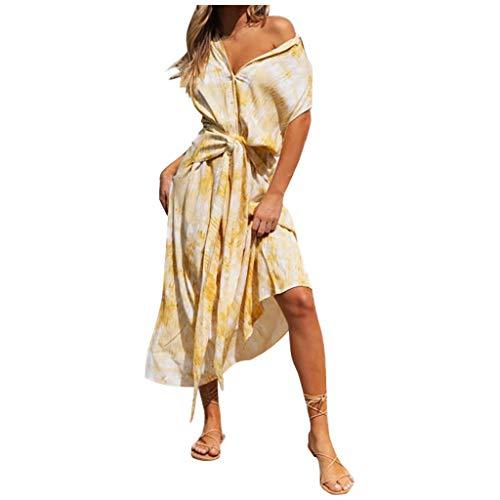 Vestidos Largos Mujer Verano 2020, Dragon868 Moda Mujer BotóN de Cuello En V Vestido Largo Estampado Tie-Dye, Vestido Sexy Suelto de Playa, Vestidos Casual de Fiesta