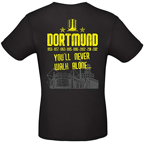 Shirt-Panda Herren T-Shirt - Dortmund - Youll Never Walk Alone - Ruhrpott Stadion Skyline Fan-Shirt Fußball Männer Schwarz (Druck Gelb) 2XL