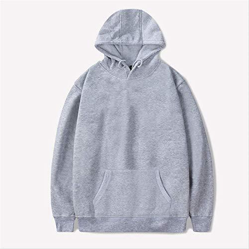 ZCMWY Casual Hoodies Männer Baumwolle Sweatshirt Schwarz Weiß Grau Rosa Sweatshirts Kapuzen Jacke Sweatshirt Hoodie XL Grau