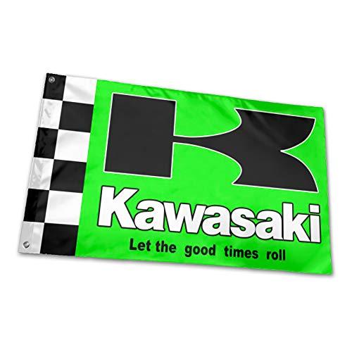 hlhhing Kawasaki-Flaggen für drinnen und draußen, Dekoration, Banner, 91 x 152 cm