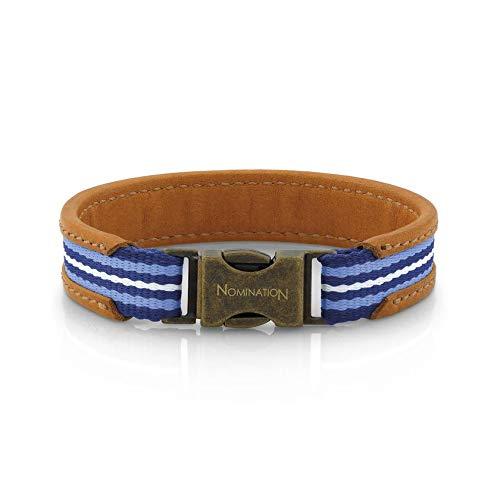 Nomination Mittelgroßes, braunes Lederarmband, farbig - 20 cm - Blau Himmelblau weiß