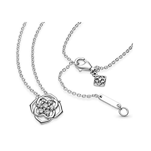WUXEGHK Collar De Plata De Ley 925 con Pétalos De Rosa De Estilo Clásico para El Día De La Madre para Mujer, Collar Original De Marca, Regalo De Joyería