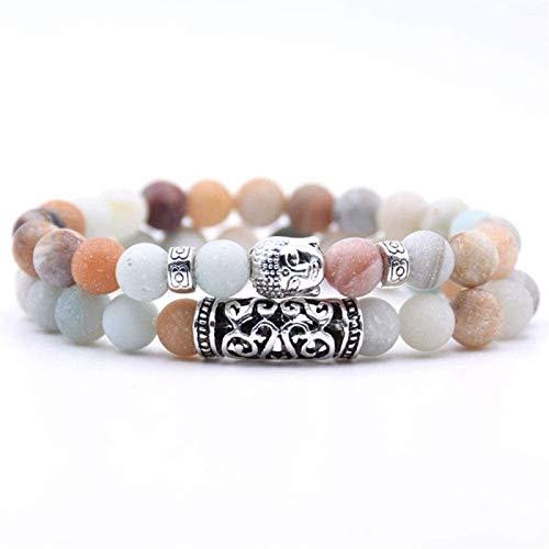 RTUTUR Pulsera de Piedra Mujer, 7 Chakra Piedra Natural Bead Amazonita Brazalete Elástico Yoga Lucky Bracelet Silver Buddha Joyería para Damas Regalo de Pareja de Navidad