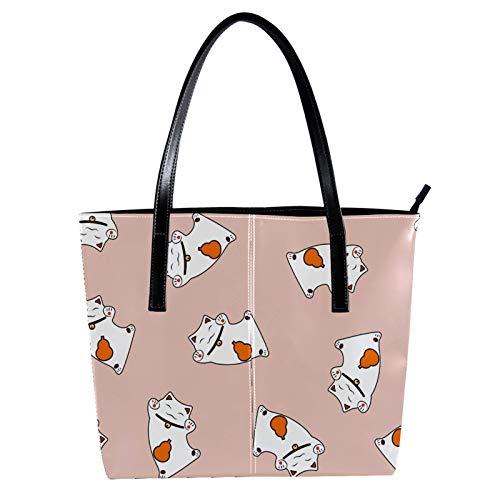 LORVIES Süße Funny Lucky Cats Kitty Umhängetasche aus PU-Leder und Handtaschen für Damen