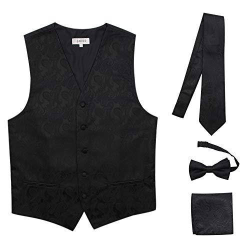 JAIFEI Premium Men's 4-Piece Paisley Vest for Sleek Looks On Formal Occasions (S (Chest 36), Black)