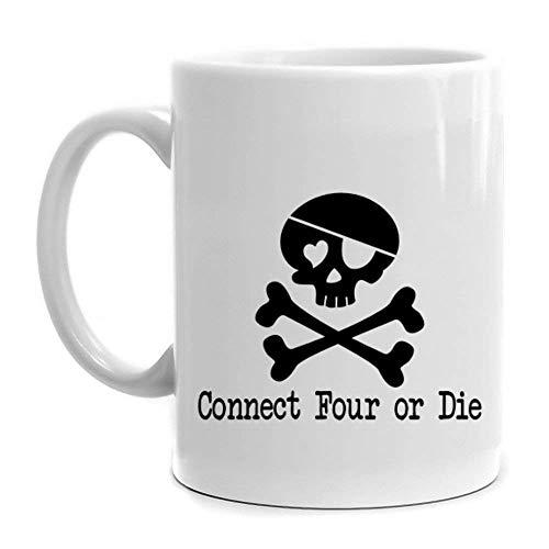 N\A Taza de café Taza de cerámica de 11 oz, Conecta Cuatro o Muere la Taza