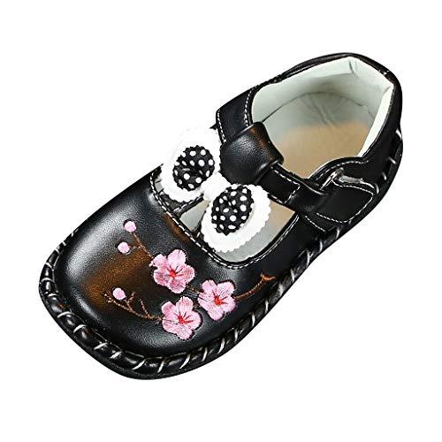 DAY8 Chaussures Bebe Fille Cuir PU Automne Pas Cher Chaussure Princesse Bapteme Mariage Ceremonie Fête Chaussure Premier Pas Fille Souple Antiderapante Chaussure Scratch Nœud Papillon (25 EU, Noir)