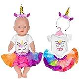ebuddy 3pc / Set Bunte Puppe Einhorn Kleidung Inklusive Overall, Stirnband, Tutu für 43 cm / 17 Zoll Neugeborene Babypuppen