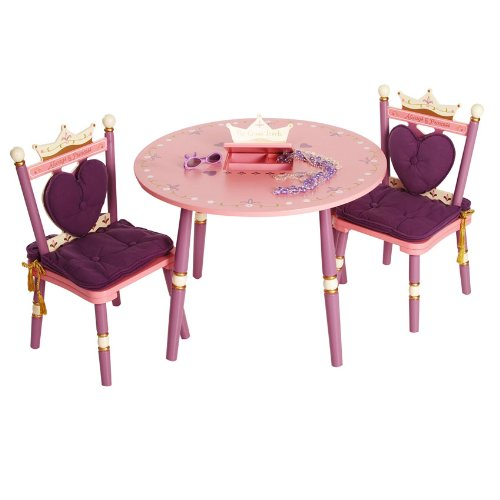 Wildkin Kids Princess Wooden Table and Chair Set for Boys and Girls, Table Features Built-In Music Box, Set Includes Two Matching Chairs with Removable Backrests and Seat Cushions, Assembly Required