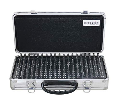 Accusize Industrial Tools Minus Class Zz Pin Gauge Set, 2 inch Overall Length, 0.061 to 0.250 inch, 190 pc, a Reliable Aluminum Case Included, M1(-) A