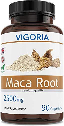 Maca péruvienne pour la vitalité des hommes et des femmes – Contre la Fatigue – Extrait naturel 10:1 de poudre de racine andine - 90 Capsules de 2500 mg - Sans additifs ni OGM – Végan