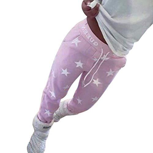 Mode Sterne Muster Hosen Frauen Mittlere Taille Jogginghose mit Kordelzug Damen Casual Jogging Yoga Hose Sporthose Große Größen Leggings für Winter Herbst Grau/Rosa