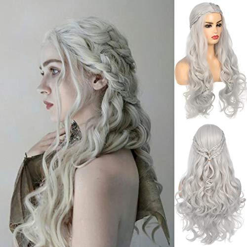 Pelucas grises para mujer, peluca larga ondulada, disfraz de cosplay, peluca sintética para Halloween, carnaval, peluca para mujer (gris)