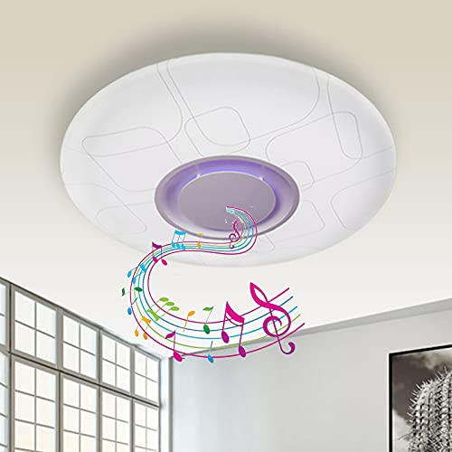 Lámpara De Techo LED Para Baño Con Música,Luz De Techo Regulable Con Altavoz Bluetooth, Cambio De Color RGB, Control Remoto Y Control De Aplicación, Pantalla Impermeable IP44 Para Cocina,54cm36w