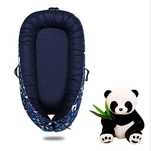 Nido de bebé portátil Cuna Lavable a máquina Imitación de diseño Uterus Necesidades para el bebé recién Nacido Viene con una muñeca Panda Regalo recién Nacido,Azul