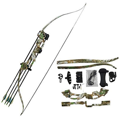 Hengqiyuan 20 LB 48'Arco De Tiro con Arco Takedown Arco Y Flecha-Material Compuesto De Peso Alta Y De Alta Resistencia: Adecuado para Juegos De Entretenimiento,Camuflaje