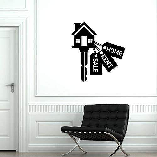 Pegatinas de pared de bienes raíces Agencia de agente de bienes raíces Decoración de bienes raíces Pegatinas de interior Mural Pegatinas de pared A9 57x64cm