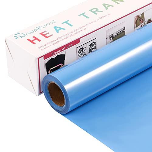 NANAPLUMS Lámina para plóter textil, 30,5 cm × 4 m, lámina de transferencia flexible y Silhouette Cameo, se utiliza en textiles planchar camisetas, tejidos (azul cielo)