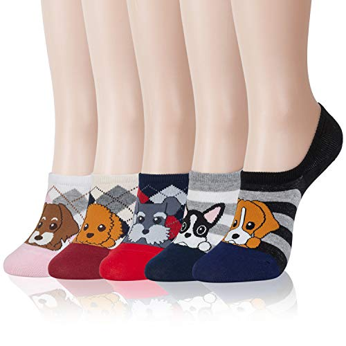 Kikiya Socks 5 Pairs of Womens No Show Socks Striped Puppy - Funny Cute Fun Cool Novelty Funky Aesthetic Short Kawaii Graphic Patterned Silly Summer Non Slip Fashionable Stylish Back to School Junior