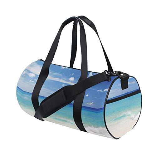 ZOMOY Sporttasche,Ocean Tropical Haven Stil Sandy Shore Meereswellen Escape to Paradise Dekorative Creme Turqu,Neue Bedruckte Eimer Sporttasche Fitness Taschen Reisetasche Gepäck Leinwand Handtasche