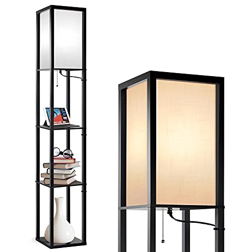 Outon Floor Lamp with Shelves, 3 Color Temperature, LED Column Modern Floor Lamp with Pull Chain, Display Storage Standing Lamp with White Linen Texture Shade for Living Room, Bedroom, Office, Black