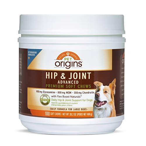 Pet Origins Hip & Joint Health Adv LG/XL Soft Chews 100 Count, Brown (4098527960)
