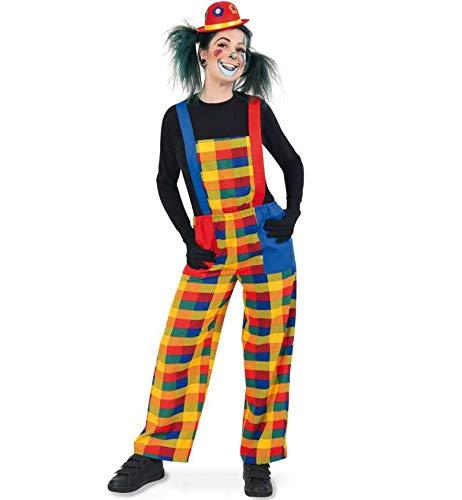 KarnevalsTeufel Herren-/Damenkostüm Clown Pebbi Latzhose bunt fröhlich Karneval, Mottoparty (Medium)