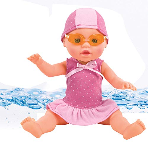 Water Baby Doll, Haokanba Baby Tot Fun Waterproof Electric Doll for Bathtub/Shower/Swimming Pool Time Play, Best Gift Toy for Kid Girl,Pink (Pink)