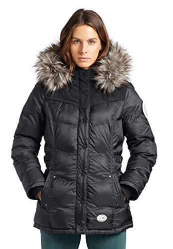 khujo Damen Jacke WINSEN4 mit Abnehmbarer Kapuze und Kunstfellbesatz Winterjacke Steppjacke