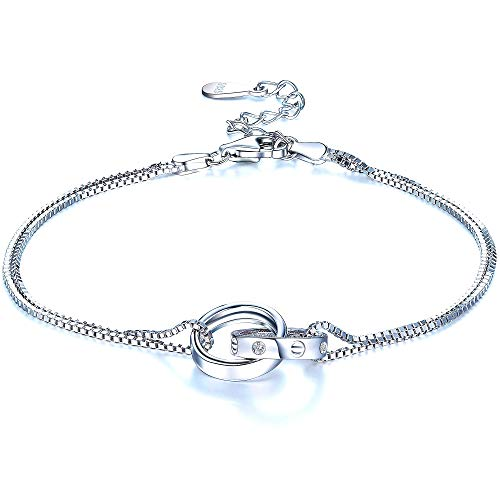 F.ZENI Double Chain Circle Bracelet 925 Sterling Silver Charm Bracelet Interlocking Infinity Bracelets for Women Anniversary Birthday Jewellery Gift