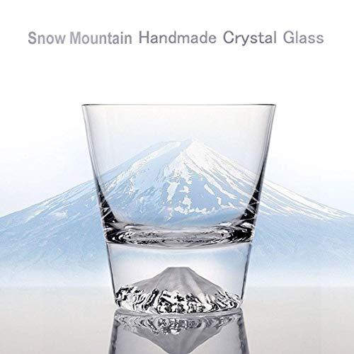 手作りクリスタルガラス製品タンブラー限定版雪山カップマウント富士水カップ手作りウイスキーオーシャングラス300 ml(1カップ)
