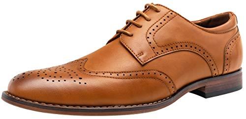 Vostey Men's Dress Shoes Classic Brown Wingtip Derby Brogue Men Oxfords (15,Yellow Brown)