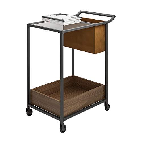 Côté Mobile séjour avec Roue Pleine Table de thé en Bois lit Chambre Table Rack de Stockage en Fer forgé (Color : Brown, Size : 63.3 * 39.8 * 74.5cm)