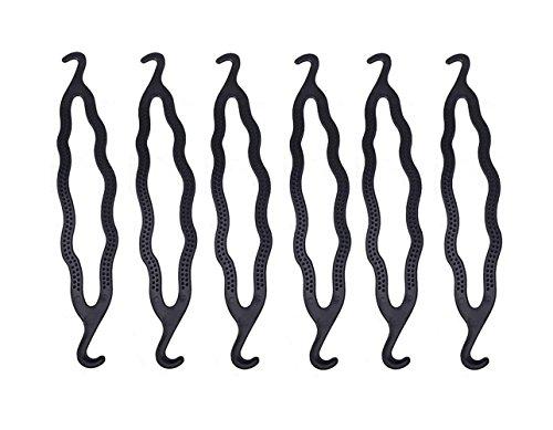 6PCS Black 8.5inch x 1.5inch Plastic Double Ended Bun Maker Shaper Curler/Hair Holder Clip Magic Roll Bun Hair Twist Braiding Tool Hair Styling Accessories for Women Lady Girls