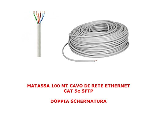 MATASSA 100 meter netsnoer SFTP CAT 5E LAN ETHERNET 5E INTERNET ZWART DUBBEL BOBINA ROUTER ACCESS POINT GRIJS