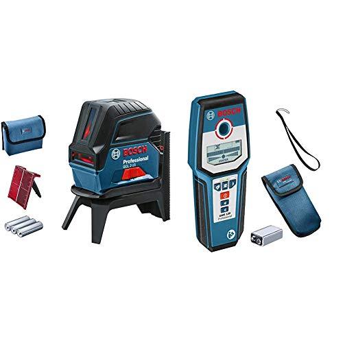 Bosch Professional Kreuzlinienlaser GCL 2-15 (roter Laser, Innenbereich, mit Lotpunkten, Arbeitsbereich: 15 m, 3x AA Batterien) & digitales Ortungsgerät GMS 120