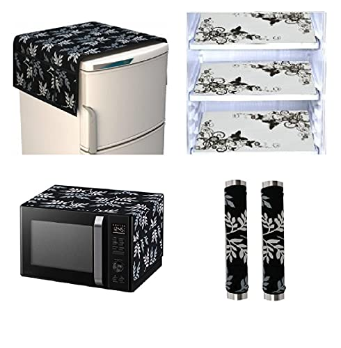 Goel Home Decor Exclusive Decorative Kitchen Combo Fridge Top Cover(Black Leaf), 2 Handle Cover, 3 Fridge Mats (Butterfly) and 1 Oven Cover – 7 Piece Set