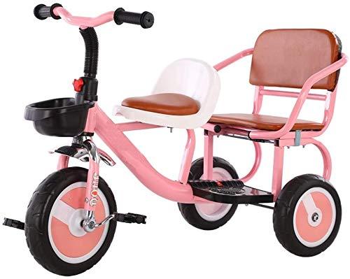 Zeyujie Fahrrad-Doppelaußen Tricycle Lied Radio Flyer Dreirad Zweirädrige Tricycle Kann Menschen tragen Zwillinge Kinderwagen Baby-Fahrrad-Zweisitzer bequeme weiche Sitz-Baby-Spielzeug-Geschenk (Farbe