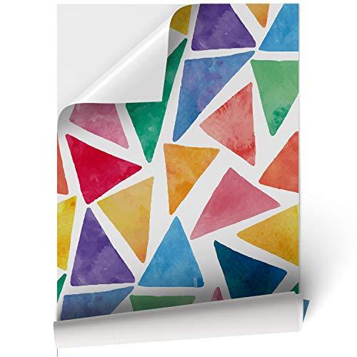 Papel Adhesivo de Vinilo para Muebles y Pared - 45x200cm - Triángulos de Colores, Fondo Blanco - Vinilo Resistente, Impermeable y Removible, 45x200cm, VNL-003