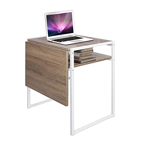 Versatile Coffee Table, Extendable Drop Leaf Dining Table, Computer Laptop Breakfast Desk Coffee Shop (Square, Light Brown)