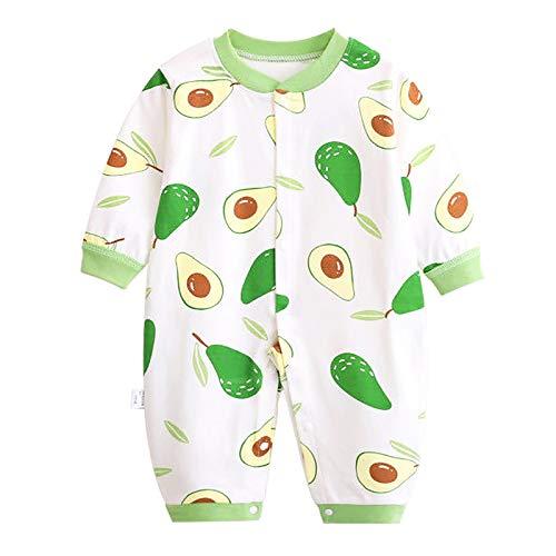 JinBei Pagliaccetto Bambina Bambino Neonato Pagliaccetti Pigiama Sleepsuits Onesies Cotone Manica Lunga Tutine Outfits Body Carino Tuta Bimba Bimbo, Stampa Avocado Verde 0-3 Mesi