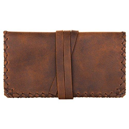 hecho. Tabakbeutel Gonzales (Dark Wood, Blättchenfach: 2X kurz) - Handgefertigte, Leder & Fair-Trade (Tabaktasche Tabaketui)