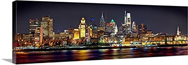 CANVAS 2018 Philadelphia Skyline NIGHT 16 inches x 46 inches PHILLY Color City Photographic Panorama Print Picture