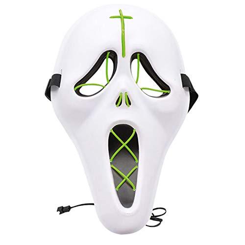 HEWXWX Máscara LED de Halloween 2020, máscara de luciérnaga, máscara de Miedo con Brillo LED, Disfraz de Cosplay de Festival, para Fiesta de Festival, Disfraz de Navidad, Cosplay,Green