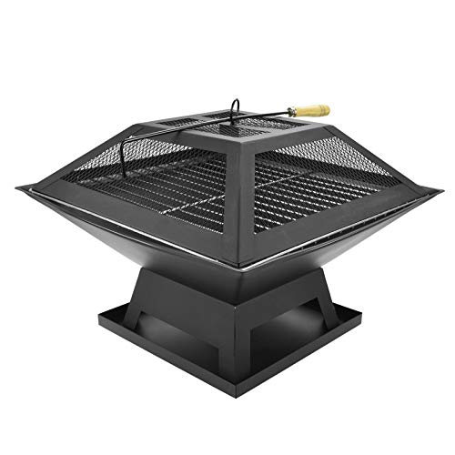 ASAB 18 Inch Outdoor Metal Firepit Square Table Backyard Patio Garden Stove Wood Burning Fire Pit with Spark Screen Log Poker and Cover