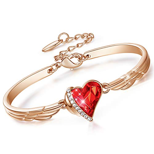 CDE Rose Gold Bangle Bracelets Red Heart Jewelry Birthstone Bracelet Crystals from Birthday Gifts for Her