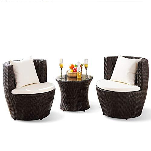 N/Z Equipo Diario Patio Porche Juegos de Muebles Impermeable Patio Balcón Silla de Mimbre Combinación Jardín al Aire Libre Silla Creativa Ocio Mesas y sillas de ratán Muebles de Tres Piezas